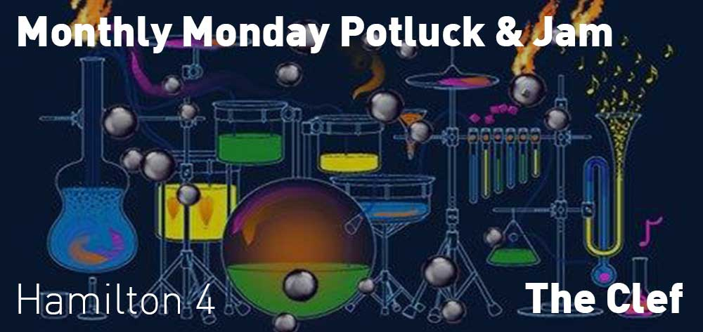Monthly Monday Potluck & Jam | The Clef | Monday, March 2, 2020 | 4pm