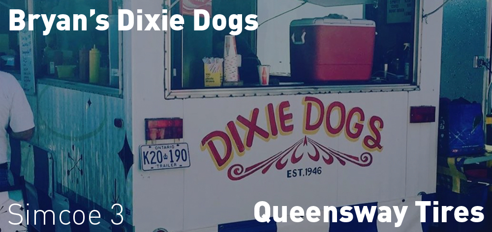 Bryan's Dixie Dogs will be at Queensway Tires on Friday August 7th at 3pm and on Saturday August 8th and Sunday August 9th at 11am.