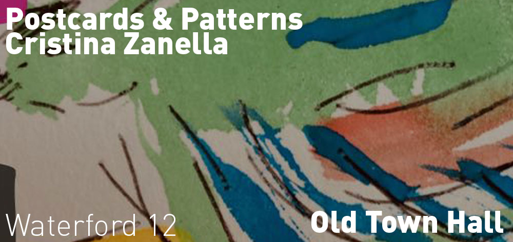 Postcards & Patterns by Cristina Zanella has an opening reception on Sunday October 20 at 2 PM at the Old Town Hall.
