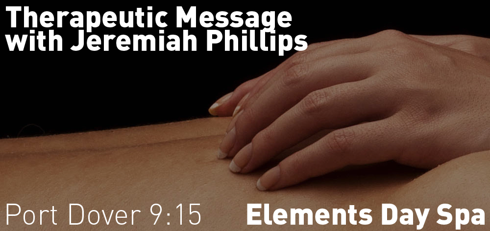 Theraputic Massage by Jeremiah Phillips is available every Tuesday at Element's Day Spa from 9:15 - 3 PM!